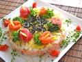 ひな祭りやお祝いに!野菜たっぷりのちらし寿司ケーキ