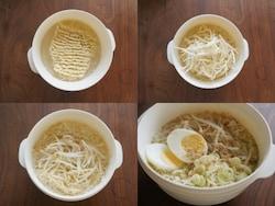(左上)ラーメンを器に入れ、分量の水を入れます (右上)一緒に具材を温めることも可能。野菜をプラスしたかったので、もやしを乗せました (左下)電子レンジ600Wで6分加熱したら、添付の粉末調味料を入れて完成。お湯を使うなら、もっと短時間 (右下)卵やネギを乗せれば、しっかりご飯にも。鍋も食器も要らないのが、嬉しい