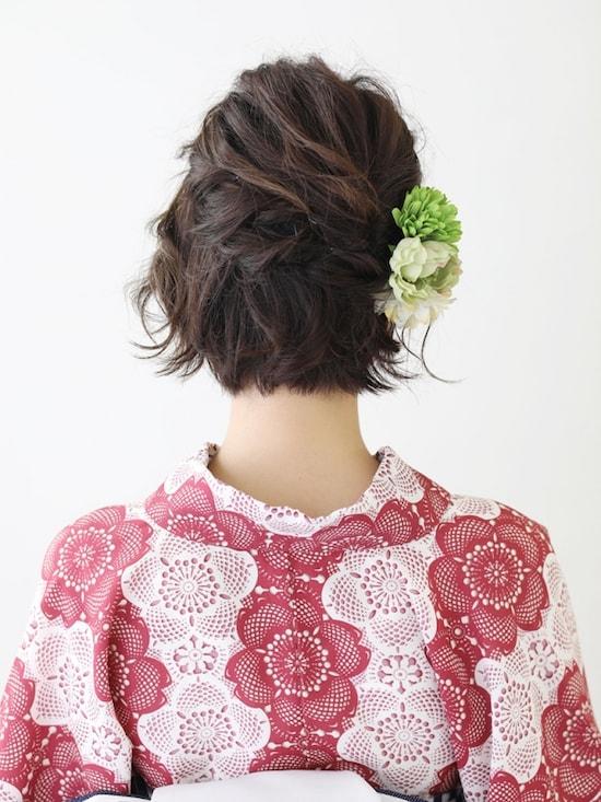 ショート 浴衣 髪型