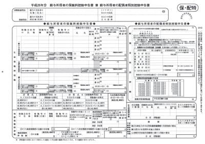 保険料控除申告書兼配偶者特別控除申告書(画像は国税庁HPより)