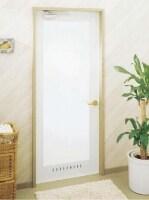 強化ガラスと太いかまちのデザインが特徴の開き戸。[浴室ドアEX‐A型]