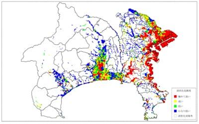 大正型関東地震の液状化想定図(出典:神奈川県防災情報「被害が大きくなりそうな地域とは)