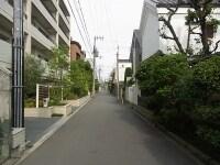 戸建てとマンションが混在する大阪帝塚山の街並