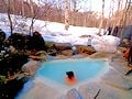 白骨温泉 小梨の湯笹屋で雪見風呂