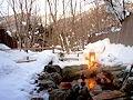 平湯温泉 深山桜庵で雪見風呂