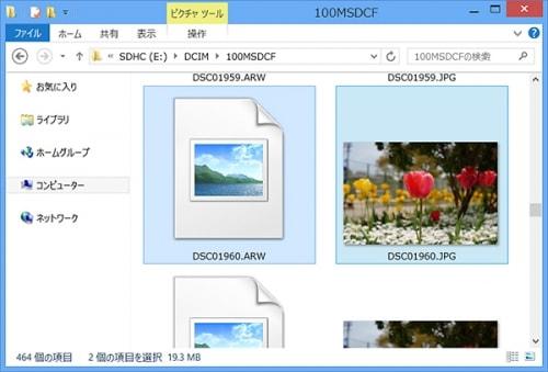 エクスプローラで見ると通常Raw画像のファイルはアイコンに写真が表示されません。
