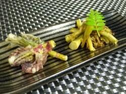 イタドリの常備菜と天ぷら