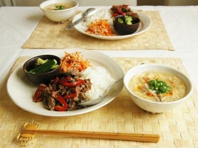 時間別一汁三菜定食レシピ10選 牛肉のバジル炒め丼定食の画像