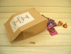 紙袋アレンジアイデア ミシンステッチのラッピング袋