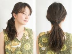 ひとつ結びを格上げ!ゴムの結び目を髪の毛で隠す方法