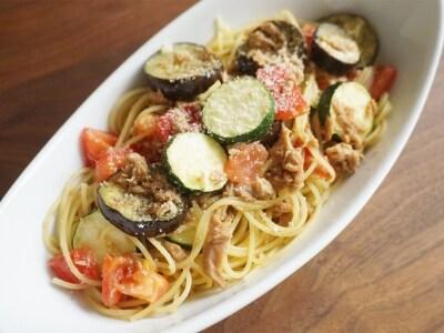 ツナと夏野菜の和風スパゲティ