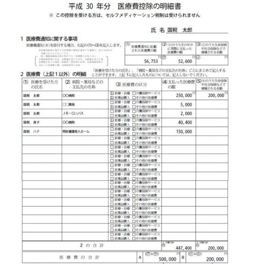 平成30年分 医療費控除の申告方法と明細書の書き方 [確定申告 ...