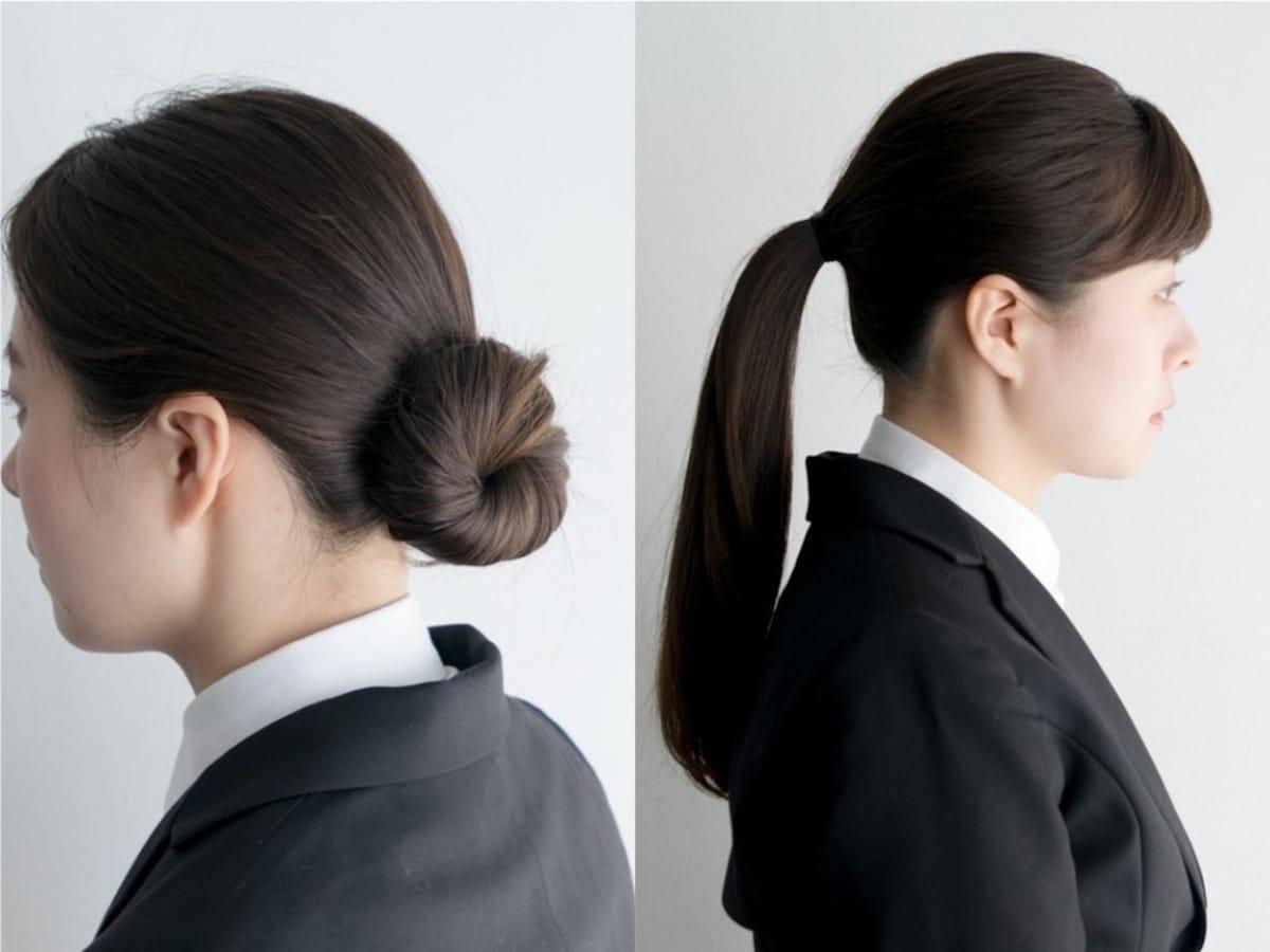 就活ヘアのお団子シニヨンひとつ結びの作り方好印象な髪型