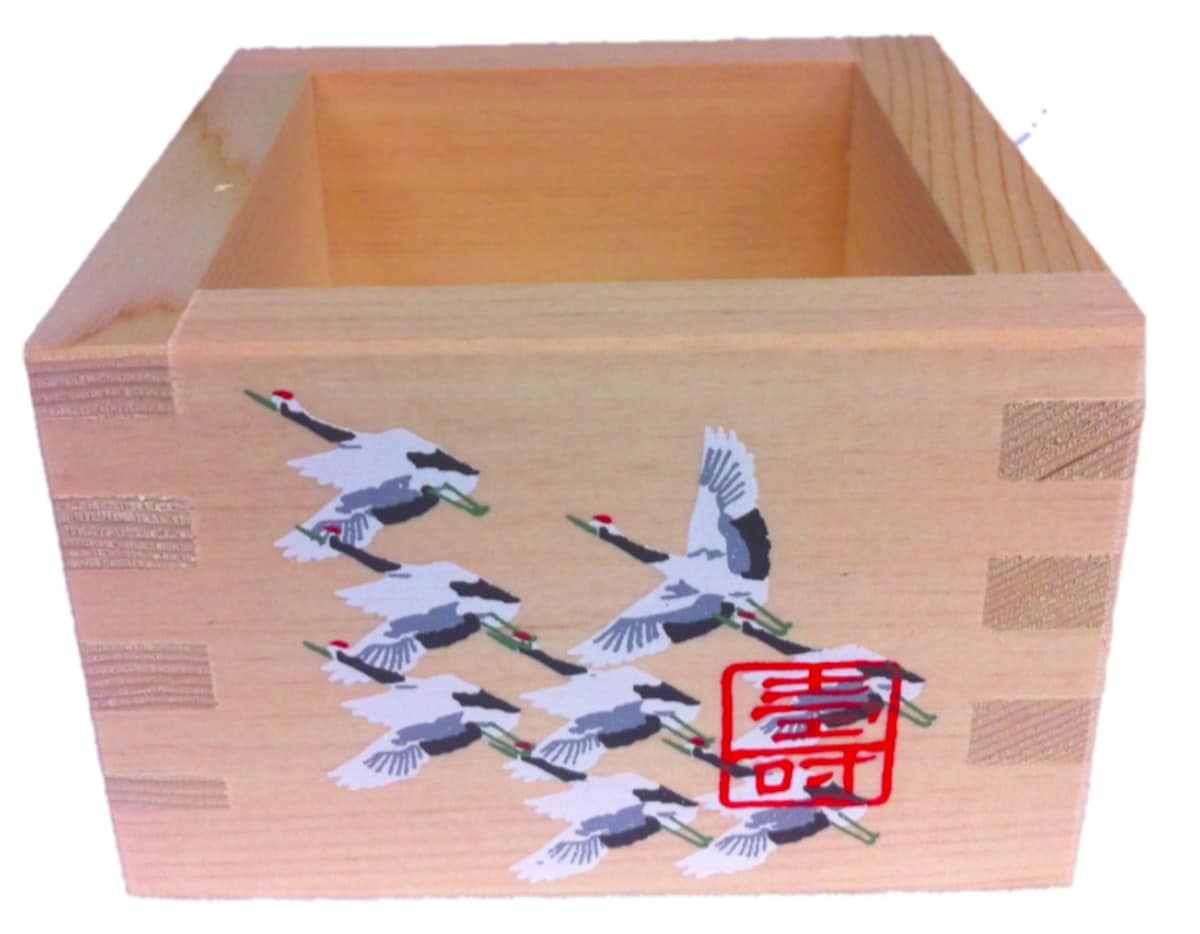 5. Traditional Hinoki Wood Masu Sake Cup with Cranes