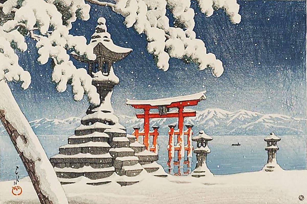 7. หิมะที่อิสุคุชิมะ โดยฮะซุย คาวาเสะ