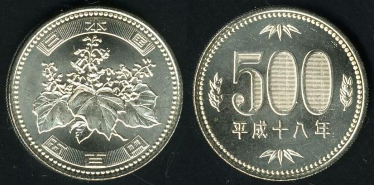 เหรียญ 500 เยน ของญี่ปุ่น (ประมาณ 150 บาท)