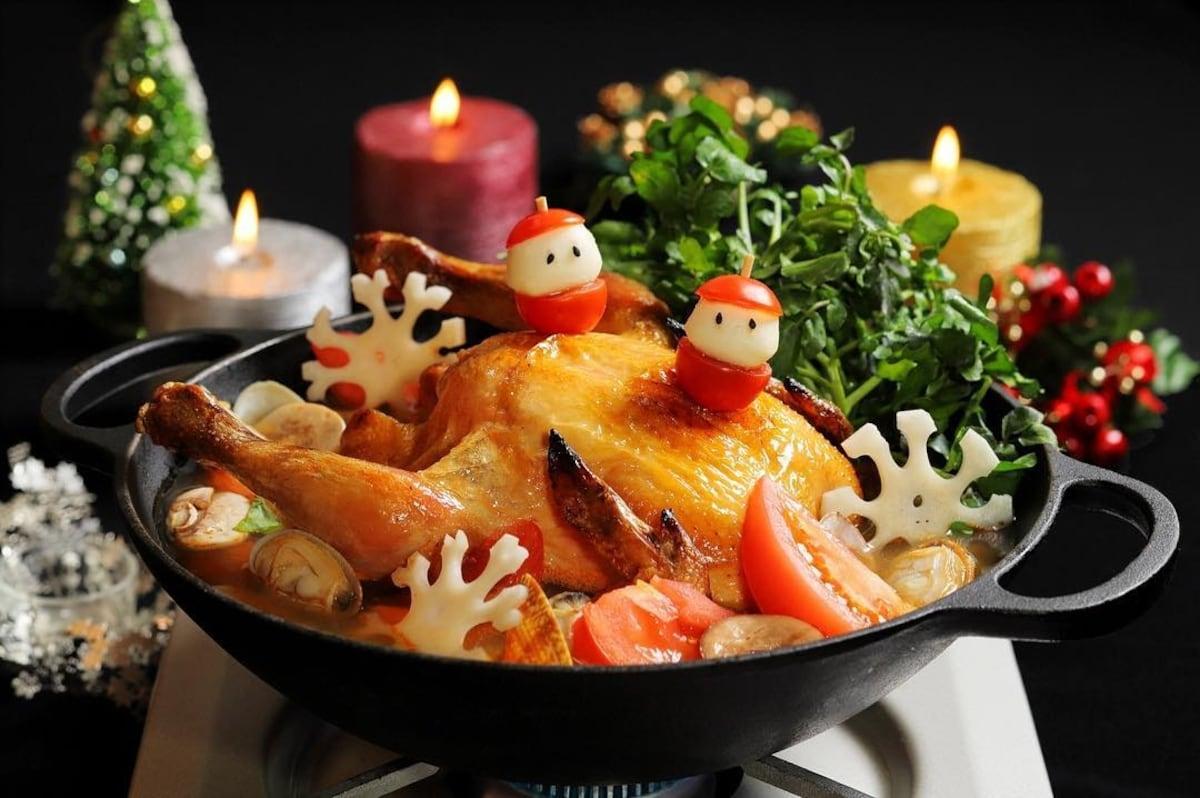 前方面紙準備好,小心你的口水!鮮嫩多汁的烤全雞香草鍋(ALOHA AMIGO 池袋)