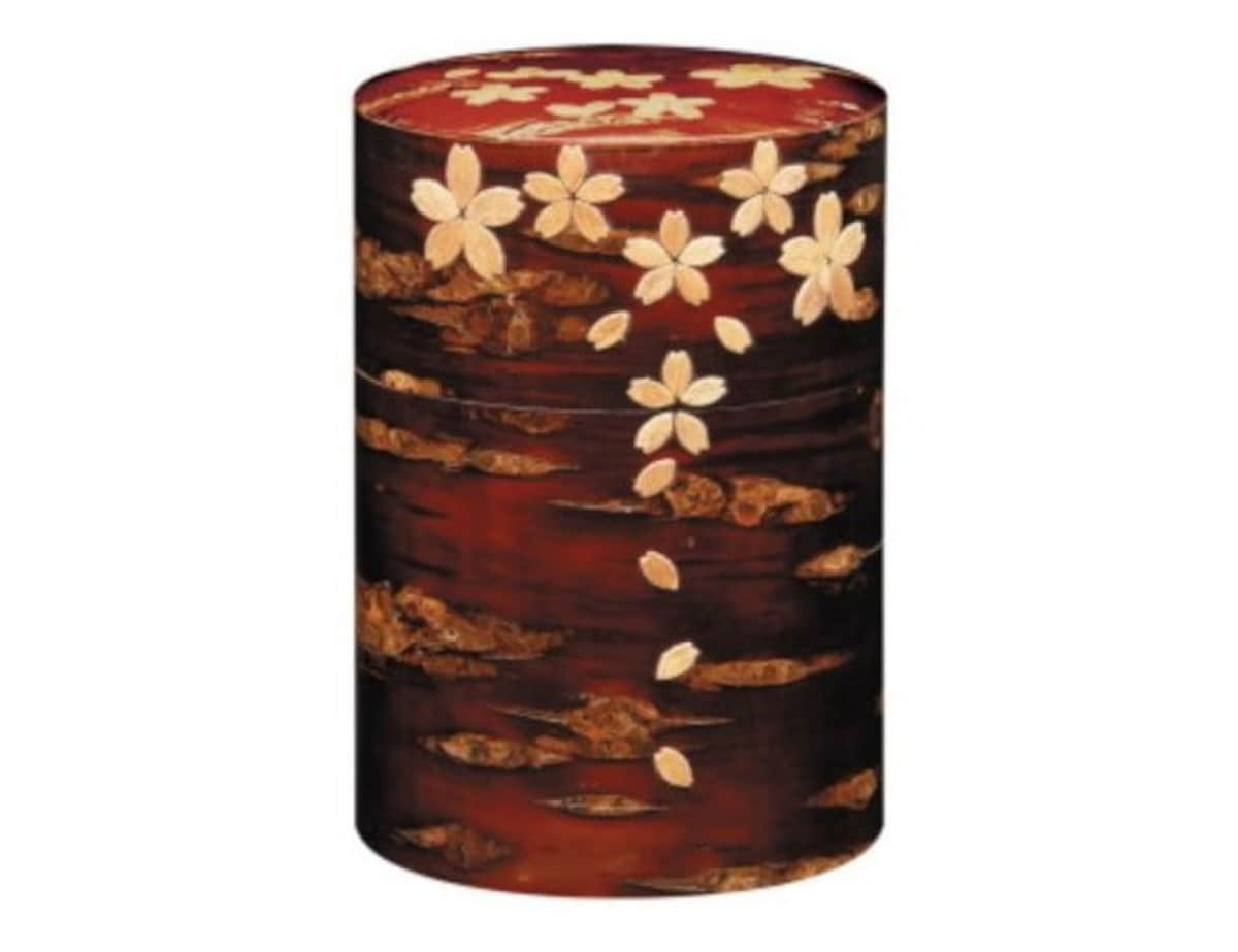 Cherry Bark Tea Container Decorated with Cherry Blossoms