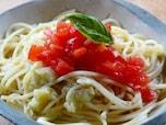 焼きなすとトマトの冷製パスタ