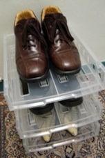 ファイルトレイで靴を仮置き