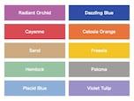青は濃淡、赤・橙・黄はヴィヴィット、緑・青紫はパステル、ベージュとグレーも!