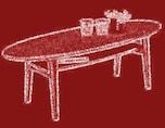 楕円形のローテーブルでぐっとカフェらしく