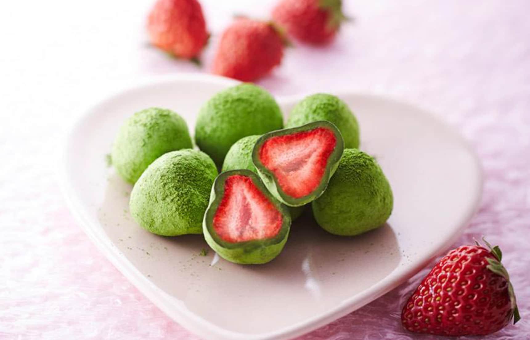 抹茶味草莓大福