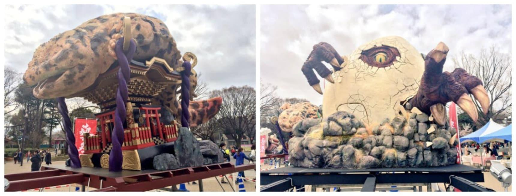 怪兽神像乱入,东京艺术大学在上野公园搞了场通灵秀