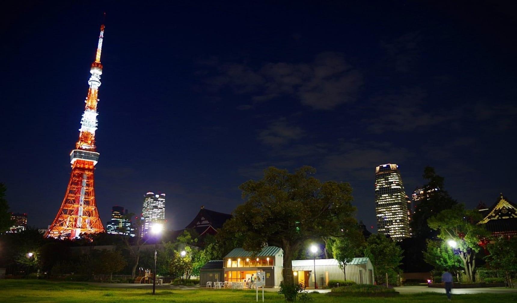 有树影婆娑掩映古寺的绿色公园 — 芝公园