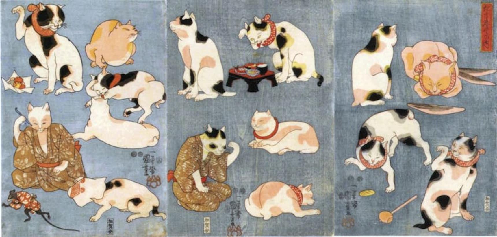 8 ภาพพิมพ์แมวๆ สไตล์ Ukiyoe