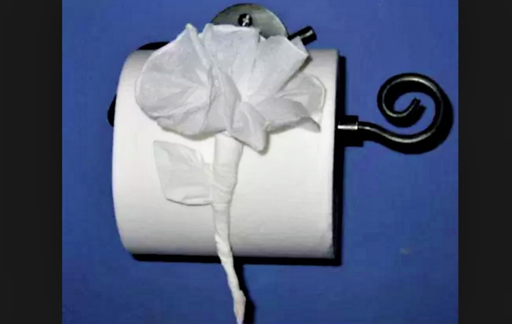 用捲筒衛生紙玩摺紙藝術展現你的待客之道