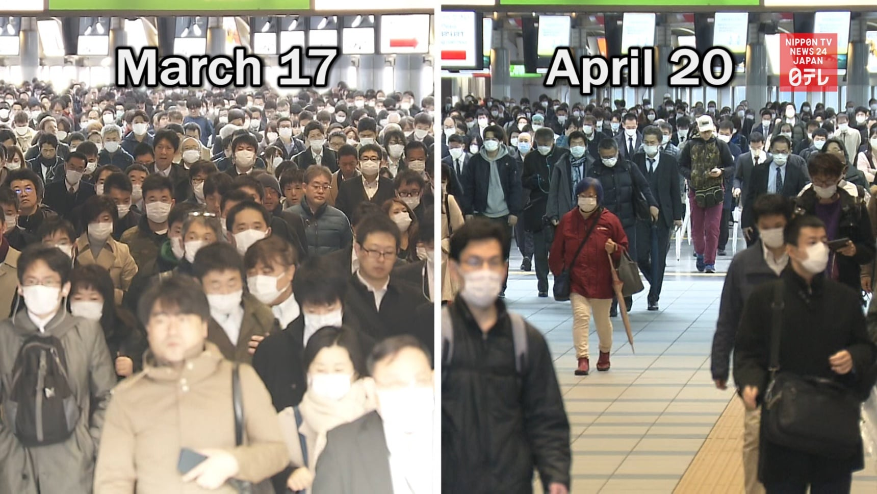 Social Distancing Reduces Tokyo Train Traffic