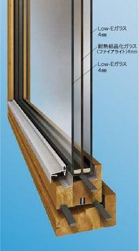 木製サッシ三層ガラス窓の断面図