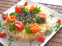 ひな祭りのお祝いに最適!野菜たっぷりのちらし寿司ケーキ