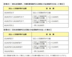 生命保険料控除の計算式(出典:国税庁 年末調整のしかた)