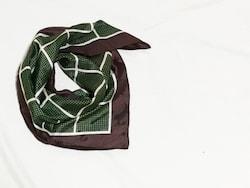 爽やかな春っぽさを感じるグリーンのスカーフ