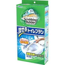 スクラビングバブル トイレ洗剤 流せるトイレブラシ 本体ハンドル1本+付替用4個