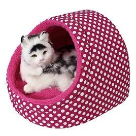 Ninkipet ふかふかハウス ペットハウスドーム型 (M, ピンク)