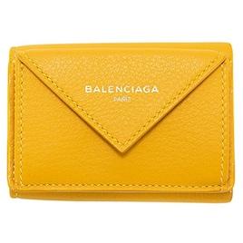 バレンシアガ BALENCIAGA 財布 三つ折り財布 ミニ財布 レディース ペーパー ミニウォレット イエロー 391446 DLQON 7144 スマートウォレット 薄型 薄い [並行輸入品]