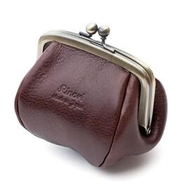 Rinori (日本製) がま口 コインケース 財布 革 レディース プックリかわいい手のひらサイズ ブラウン