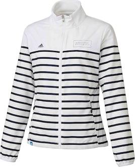 アディダス Adidas アウター(ブルゾン、ウインド、ジャケット) ADICROSS ストライプ 長袖 ウインドブレーカー レディス ホワイト S