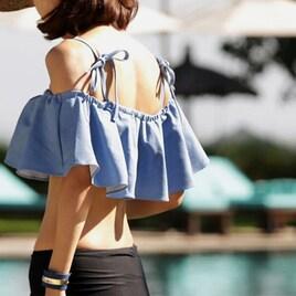 オルチャン 水着 韓国ファッション フリルがかわいい水着2点セット
