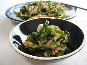 空芯菜と鶏ささみの冷たい中華風和え物