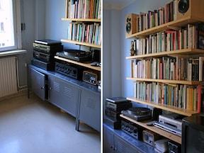 オープンキャビネットで本を収納する