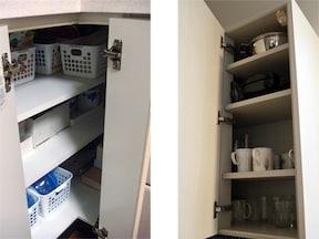 L型キッチンのコーナー収納はケースを上手に使って収納