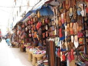 モロッコの伝統的な革製のスリッパ バブーシュ