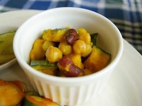 レンジで簡単!作り置きも◎ かぼちゃと豆のサラダレシピ