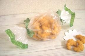 マスキングテープで、ポリ袋をキャンディ型にアレンジ!