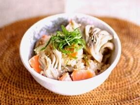 舞茸と鮭の炊き込みご飯