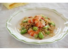 最強のダイエットレシピ! えびとそら豆とキヌアのペペロンチーノ
